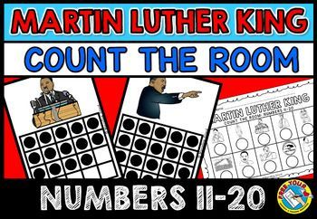 MARTIN LUTHER KING COUNTING CENTER  Who doesn't love count the room activities? This hands-on fun pack, containing 10 task cards, is an ideal activity to motivate your kids during Martin Luther King Day.  Print, cut out the cards and laminate for durability. Hang around the room. Children have to go round the room carrying a recording sheet, find the cards with the matching pictures and count the dots in each frame; and finally write the numbers under each picture on their recording sheet.