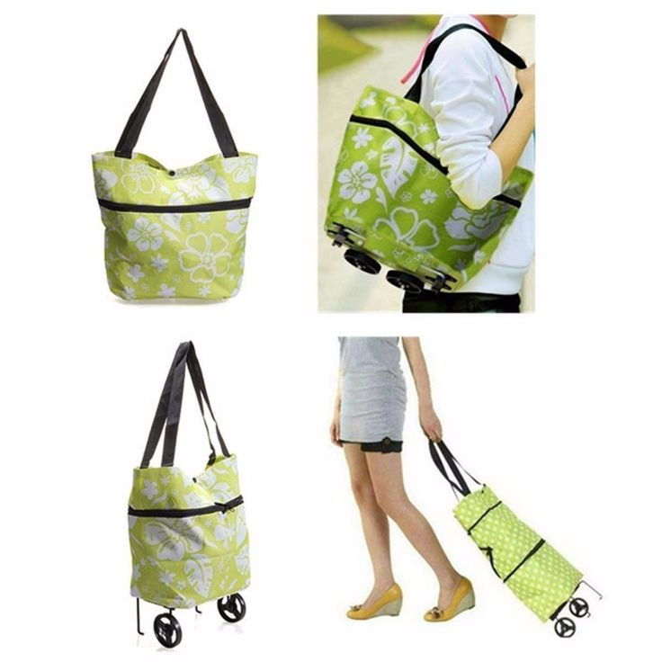 CAMTOA pieghevole Grocery Shopping Bag, Tote pieghevole portatile, Luce sacchetto di mano eccellente, borsa bagagli con la rotella, Trolley Carrello (Fiore modello) verde: Amazon.it: Sport e tempo libero