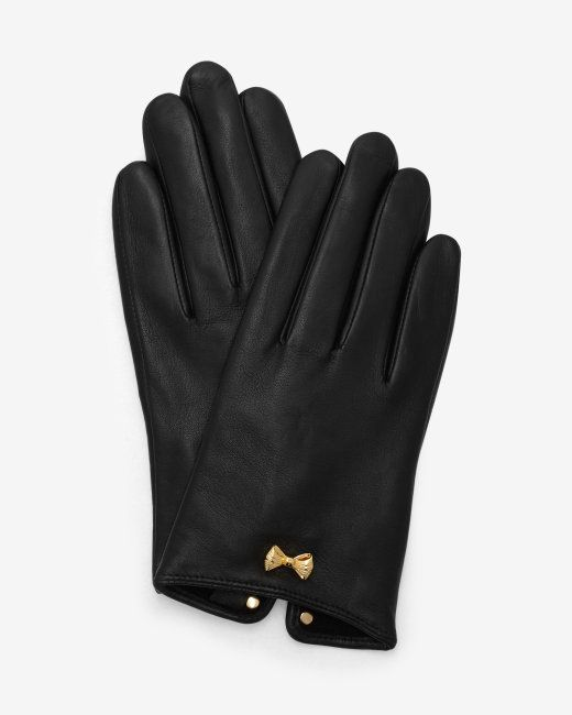 Metallic bow leather gloves - Black | Gloves | Ted Baker NEU
