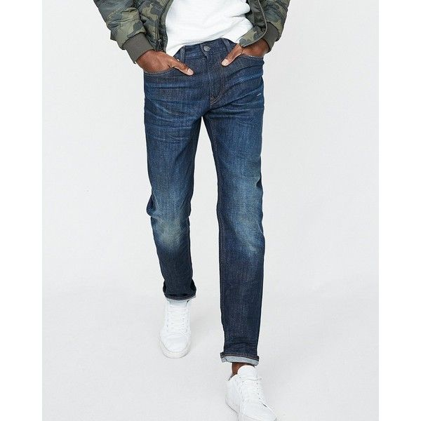 Express Slim Dark Wash Stretch Jeans ($88) ❤ liked on Polyvore featuring men's fashion, men's clothing, men's jeans, blue, express mens jeans, mens dark wash jeans, mens slim cut jeans, mens slim straight jeans and mens blue jeans