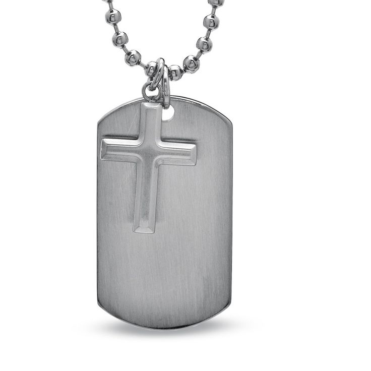 Men's Cross and Dog Tag Pendant in Stainless Steel