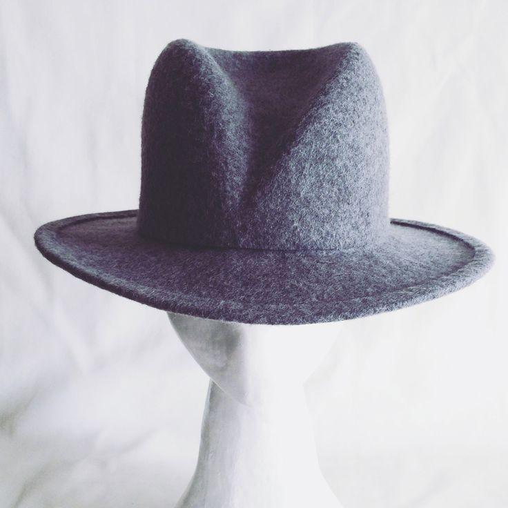 Dark grey felt fedora hat, charcoal colour unisex hat, handmade winter woman's hat, man's hat by ElenaShvabMillinery on Etsy https://www.etsy.com/uk/listing/257904347/dark-grey-felt-fedora-hat-charcoal