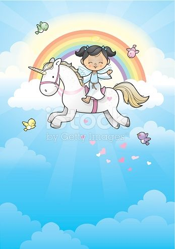 Happy angel girl on her unicorn running in the clouds .