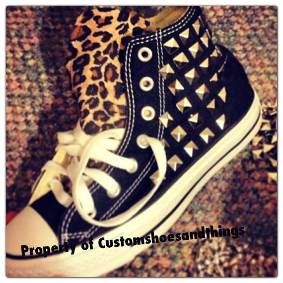 Spiked Custom Chucks converse with Leopard by Customshoesandthings, $135.00