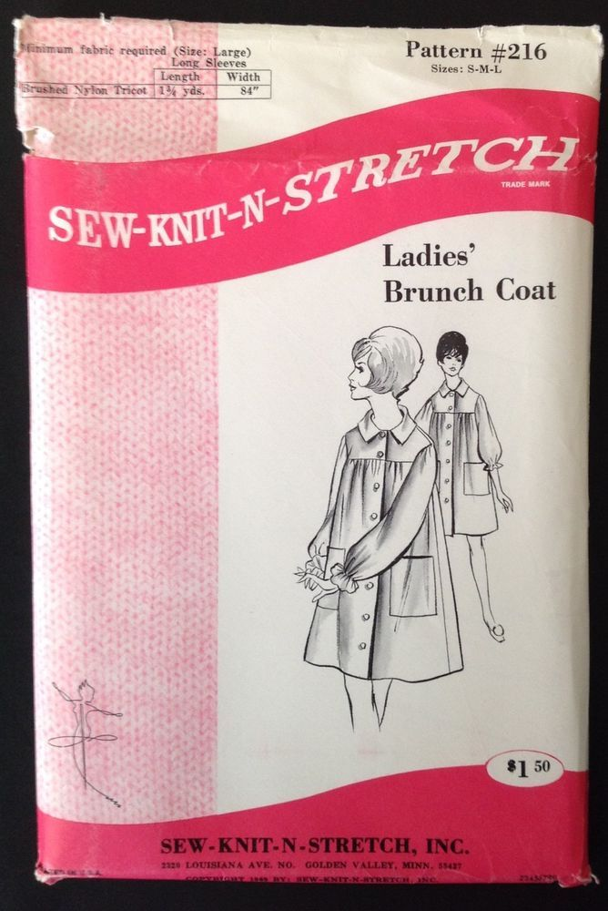 Vtg Sew Knit N Stretch 216 Pattern Lingerie Robe House Coat Tent Dress Peignoir #SewKnitNStretch