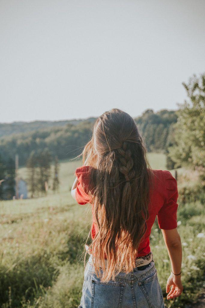 long brown wavy hair || half up half down braided hairstyle