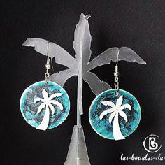 Boucles d'oreilles: palmiers sur fond d'océan