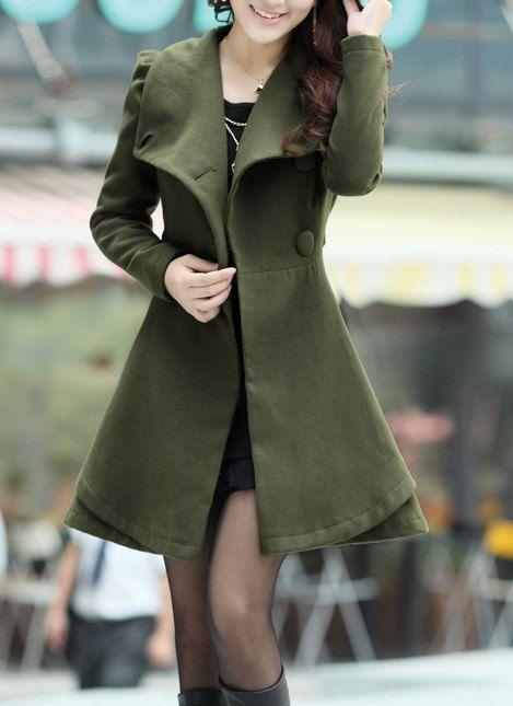 Khaki / Orange /Green/ Pink wool women coat by happyfamilyjudy