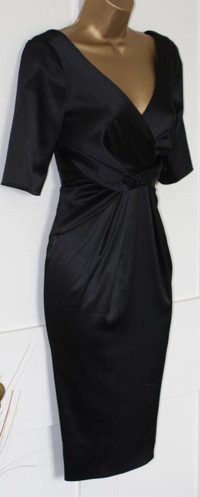 New Black Satin Pleat Marilyn 50s Wedding Party Evening Pencil Wiggle Dress 6 34