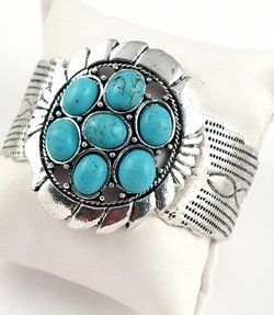 "Faux Turquoise Bracelet Southwest Design with 7 Stone Cluster White Brass 1 3/4"" Wide Silver Pony. $26.95"