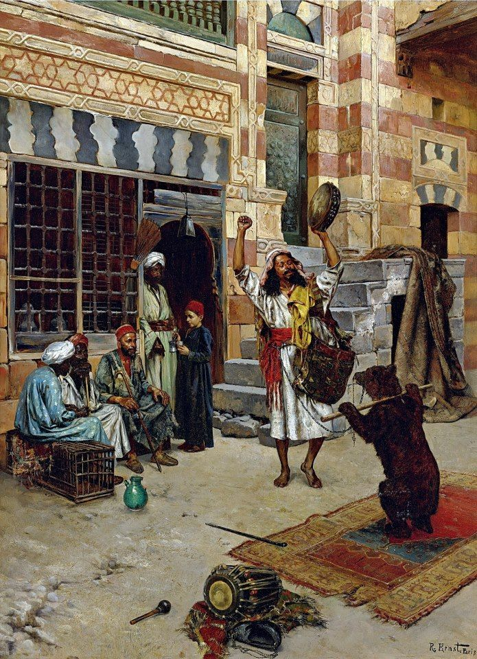 An afternoon show  BY Rudolf Ernst [Austrian , 1854 -1932]  Oil on panel , 82 X 61cm