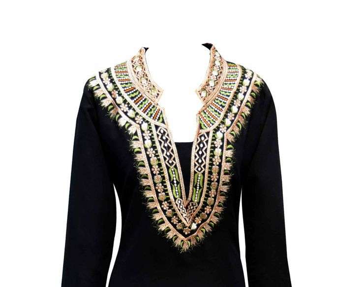 women's BLACK Indian fancy tunic Top in Georgette by DesiSarees
