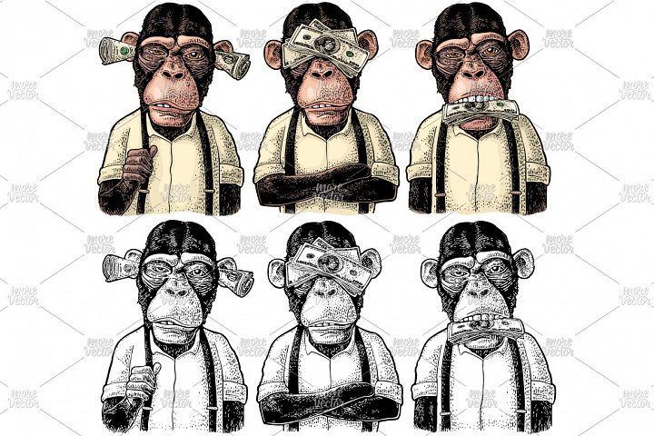Three Wise Monkeys With Money Ears Eyes Mouth Engraving 137469 Illustrations Design Bundles Manga Del Tatuaje Monos Tattoo Tatuajes De Medusas