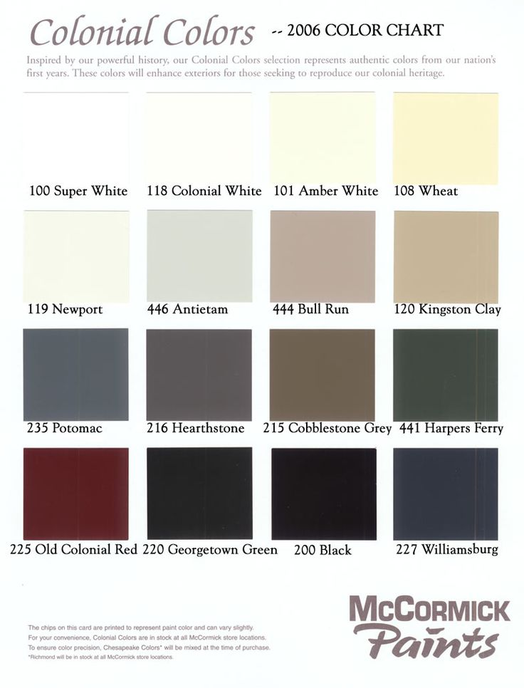 "Colonial colors -- the exterior of our house is almost the same as ""wheat"" and the trim is very similar to ""cobblestone grey"" although with more chocolate brown in it. I am thinking the ""colonial red"" for the front door and decorative bows above the windows."