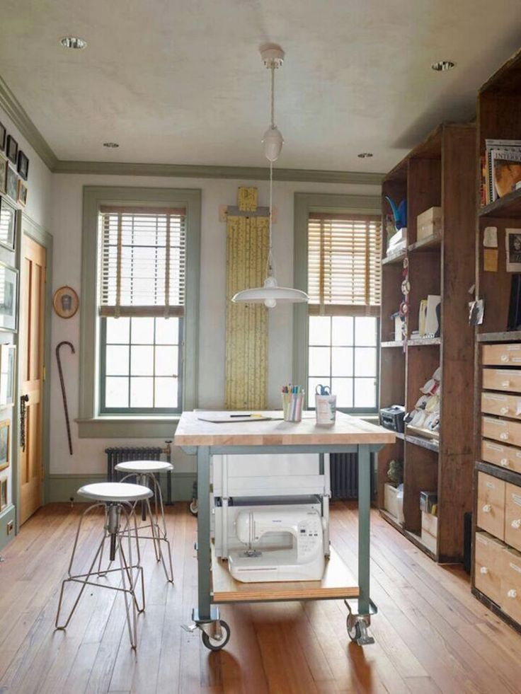 This Home Office And Sewing Room Offers A Mix Of Storage