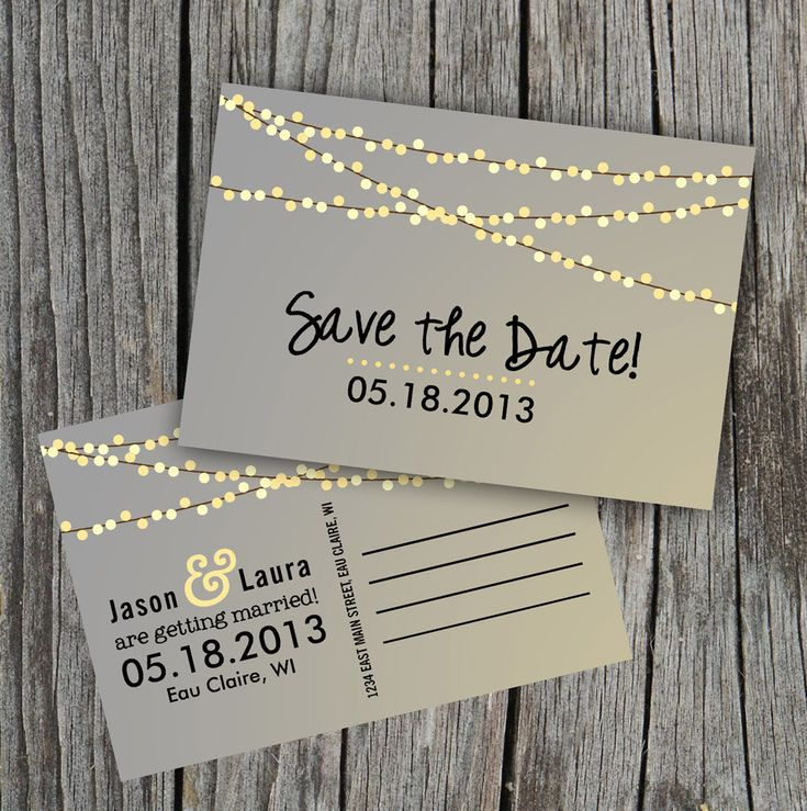 Save the Date Postcard - String of Lights, cute!