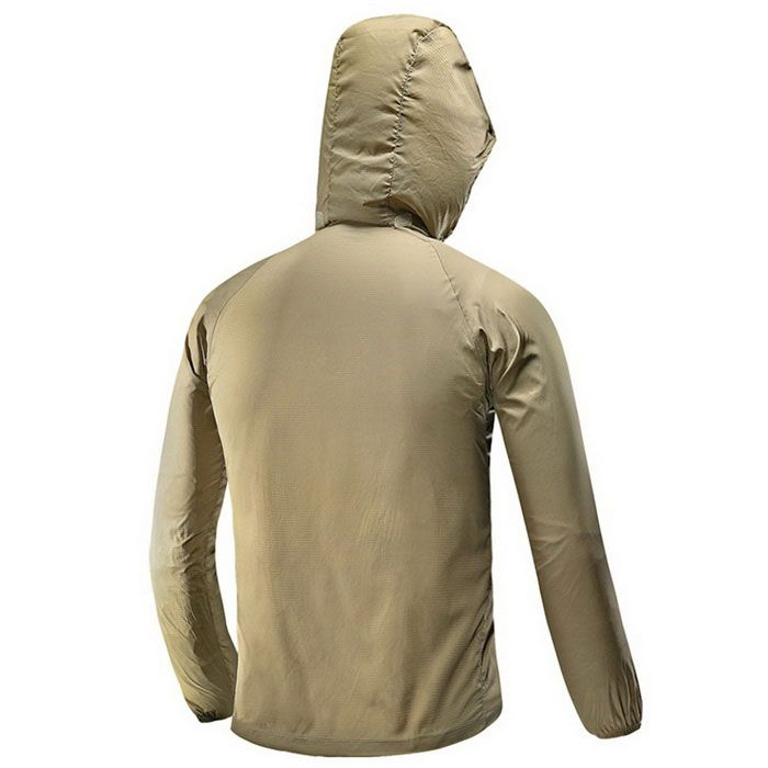 FREESOLDIER Outdoor Ultra-Slim Lightweight Men's Hoodie Jacket Coat - Khaki (Size L) - Free Shipping - DealExtreme