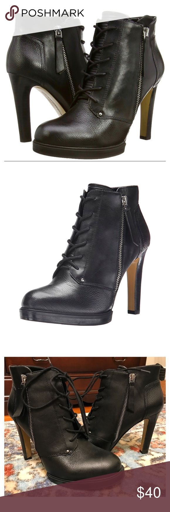 """French Connection Black Bootie French Connection """"Beatrix Bootie"""" : in perfect condition only wore 1-2 times Black Leather Round toe Laced vamp Side zipper closure Quilted tongue 4""""heel French Connection Shoes Ankle Boots & Booties"""