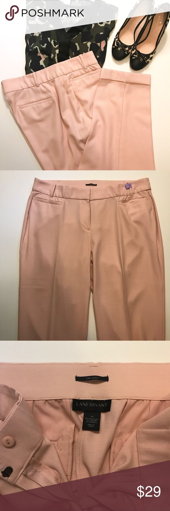 """Light Pink Lena Pant 20 Styled with inner elastic waistband.  Cuffed leg. 28"""" inseam. Pockets. EUC Lane Bryant Pants Ankle & Cropped"""