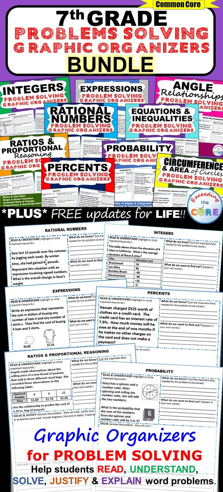 7th Grade Math Common Core WORD PROBLEMS with Graphic ...