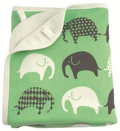 Littlephant, Sett med babyteppe & sutteklut, Elefant, Grønn/grå/hvit