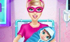 Barbie Super Hero and the New Born Baby