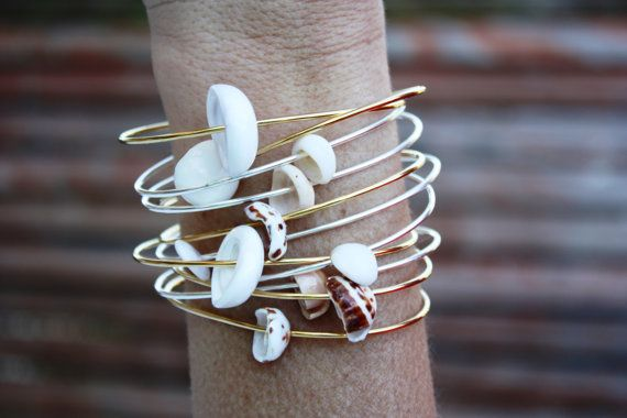 Shell Bangle Bracelet Hawaiian Bracelet Hawaiian by DRaeDesigns, $9.00