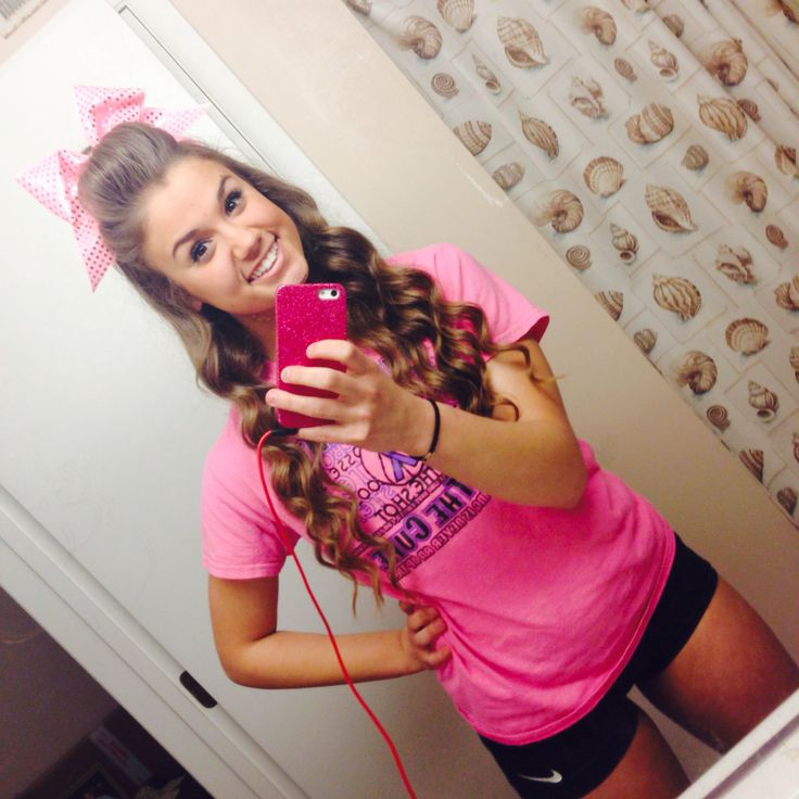 cheer hair with big pink bow