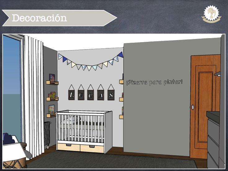 Habitaci n para beb reci n nacido en azules y grises con - Habitacion recien nacido ...
