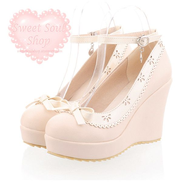 kawaii shoes ❤ liked on Polyvore featuring shoes, wedge heel shoes, lace shoes, lacy shoes, pastel shoes and wedges shoes
