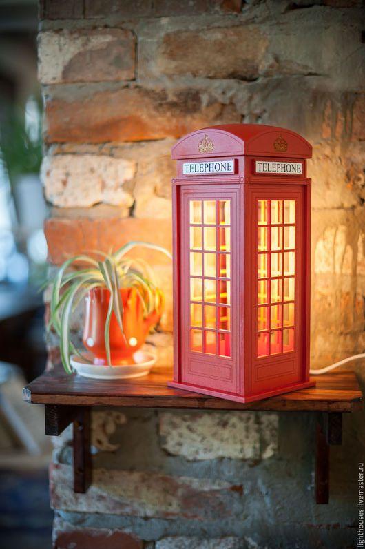 Освещение ручной работы. Ярмарка Мастеров - ручная работа. Купить Лондонская телефонная будка. Светильник-ночник для дома и интерьера. Handmade.