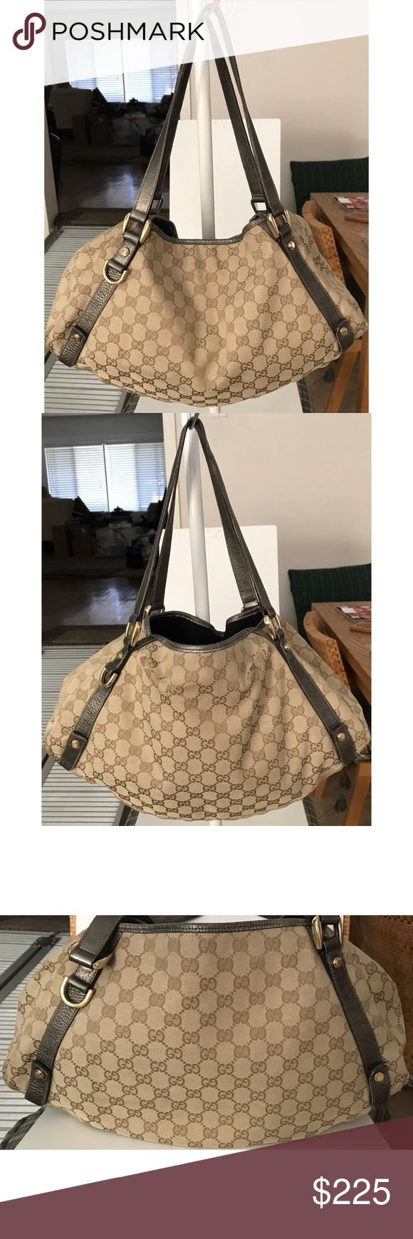 """💯Authentic Gucci GG Monogram Abbey Shoulder Bag 100% authentic Gucci Abbey beige and brown monogram GG bag with metallic trim. Made in Italy, L15.5"""" x H9.4"""" x D5"""", strap drop 8."""" Interior pocket zipper and snap button for main compartment works properly. Exterior has heavy scuffs/frays on bottom corner edges and backside (not holes). Leather trim/straps have normal signs of use and minor scuffs. Interior has light surface wear and minor dirt marks. View all pictures closely for signs of…"""