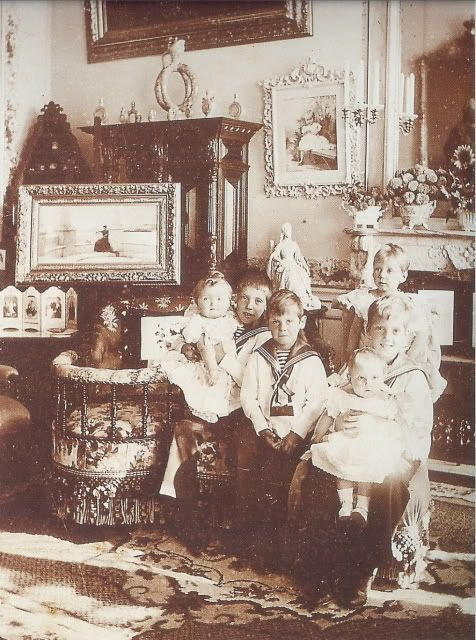 Grand Duchess Olga and her Danish cousins, 1896.  It's so easy to recognize Olga's sweet round baby face.