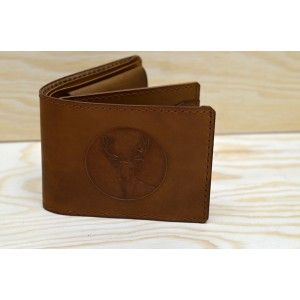 Handmade leather wallet - deer (engraved)
