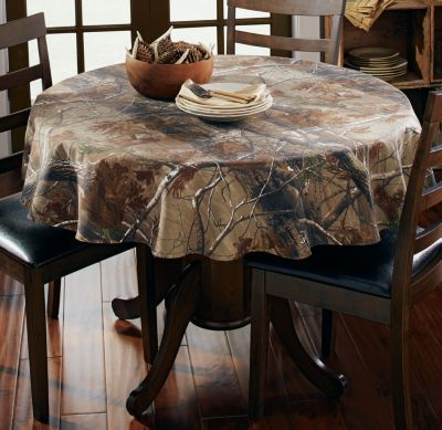New realtree ap camo tablecloth 56 round for Camo kitchen ideas