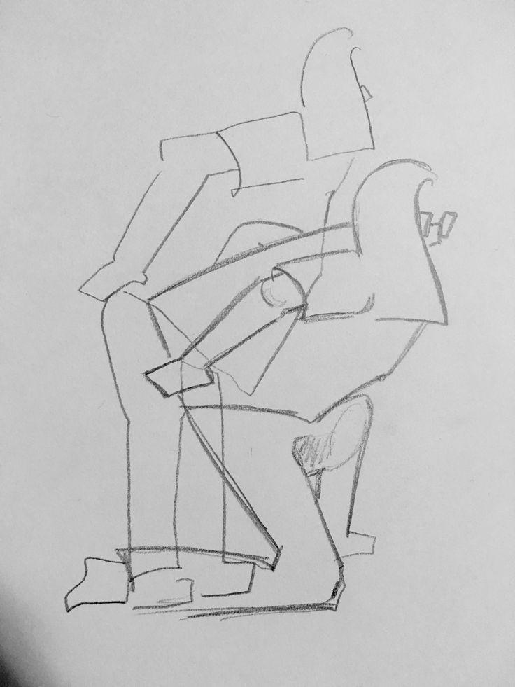 크로키 : 허리를 잡고 바닥에서 일어나는 모습