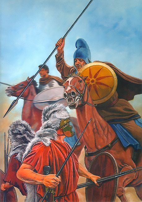 Seleucid light cavalry clash with Roman velites skirmishers by Graham Summer
