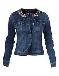 Madeleine Mode jeans jacket dark blue denim embellishment collar white spijkerjasje jack donker blauw denim witte siersteentjes kraag