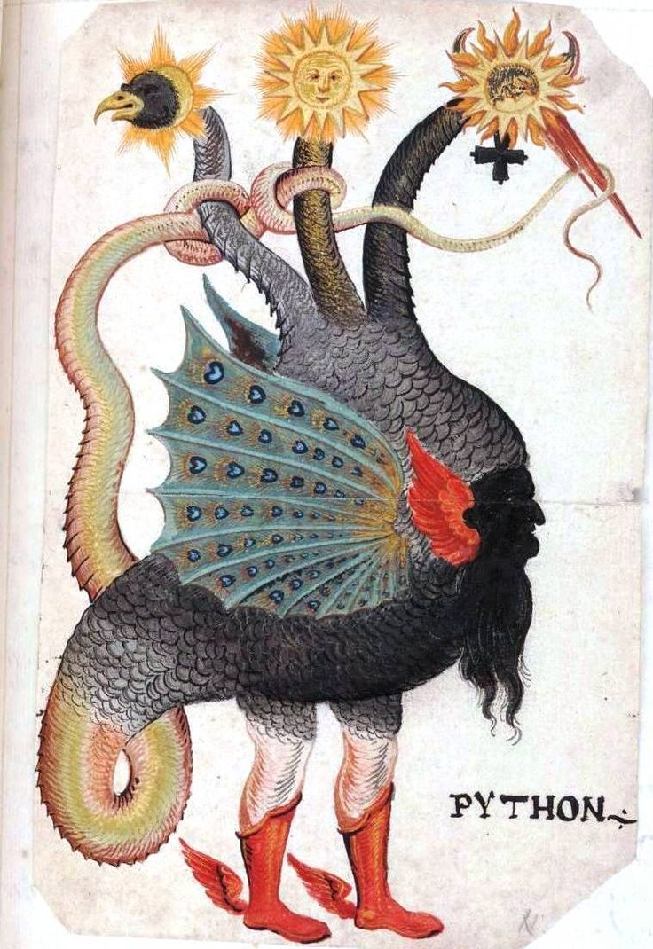 Monster Python Mercurius as Three HeadedMan-bird snake with red mid-calf boots. 1600