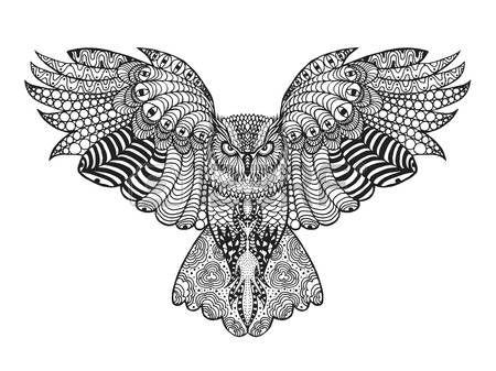 Vogels. Zwart wit hand getrokken doodle. Etnische patroon vector illustratie. Afrikaans, indisch, totem, stammen, ontwerp. Schets voor avatar, volwassen antistress kleurplaat, tattoo, poster, print, t-shirt Stock Illustratie