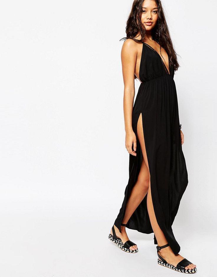 ASOS+Lattice+Trim+V+Neck+Maxi+Dress