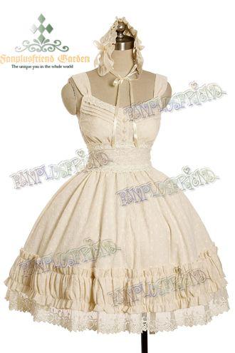 cream off white jumper skirt ruffles lace bow dress fanplusfriend egl lolita goth gothic alternative