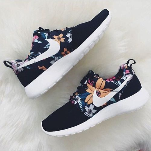 nike, shoes, and flowers image: