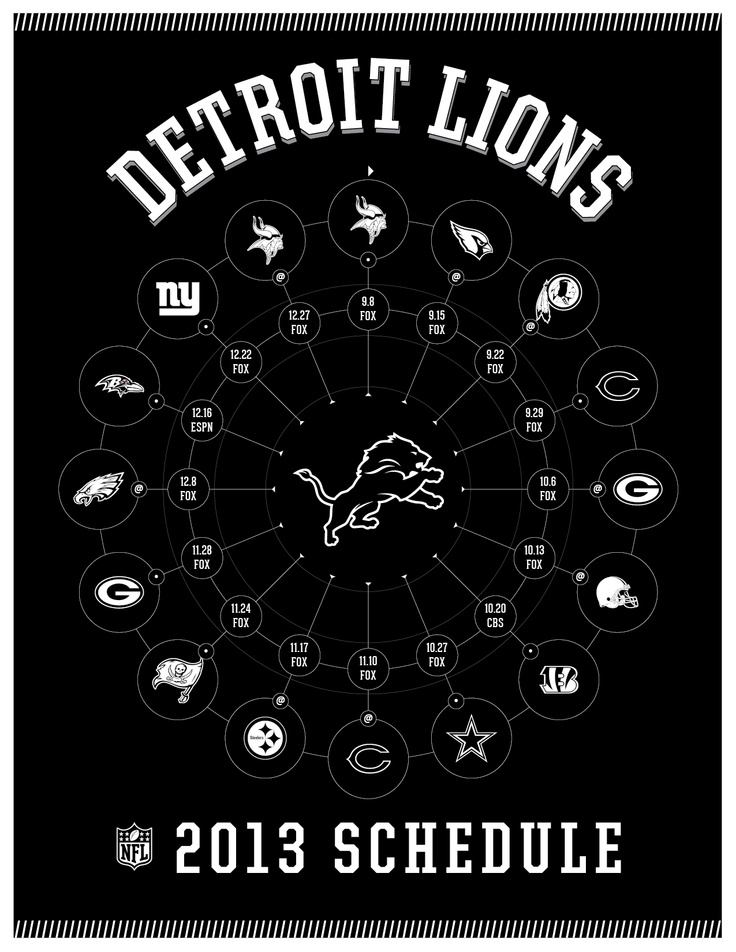 DETROIT LIONS 2013 SCHEDULE
