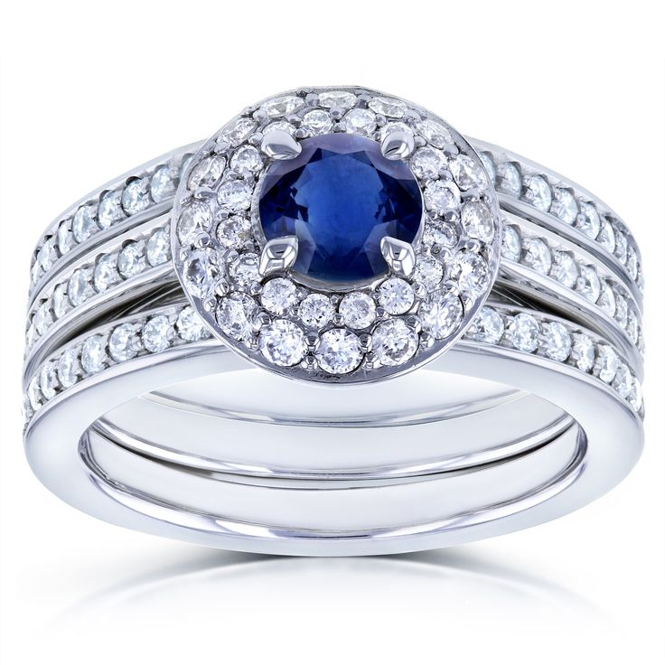 Annello by Kobelli 14k White Gold Blue Sapphire and 4/5ct TDW Diamond Dome Double Halo 3-piece Bridal Rings Set (G-H, I1-I2) (Size