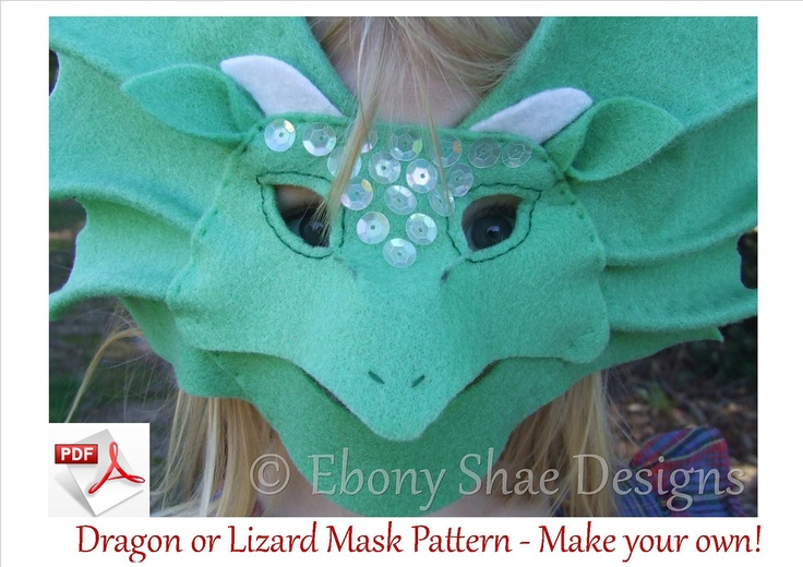 Dragon Mask and Frill Neck Lizard Mask Pattern. For children 1 year & older. FREE POSTAGE. $4.00, via Etsy.