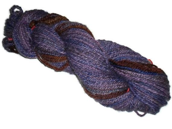 Handspun Purple Yarn - Hand Dyed Worsted 3-ply Yarn - Handspun Yarn - Purple Hand Painted Wool, Purple Wool Yarn, Purple, Worsted Weight