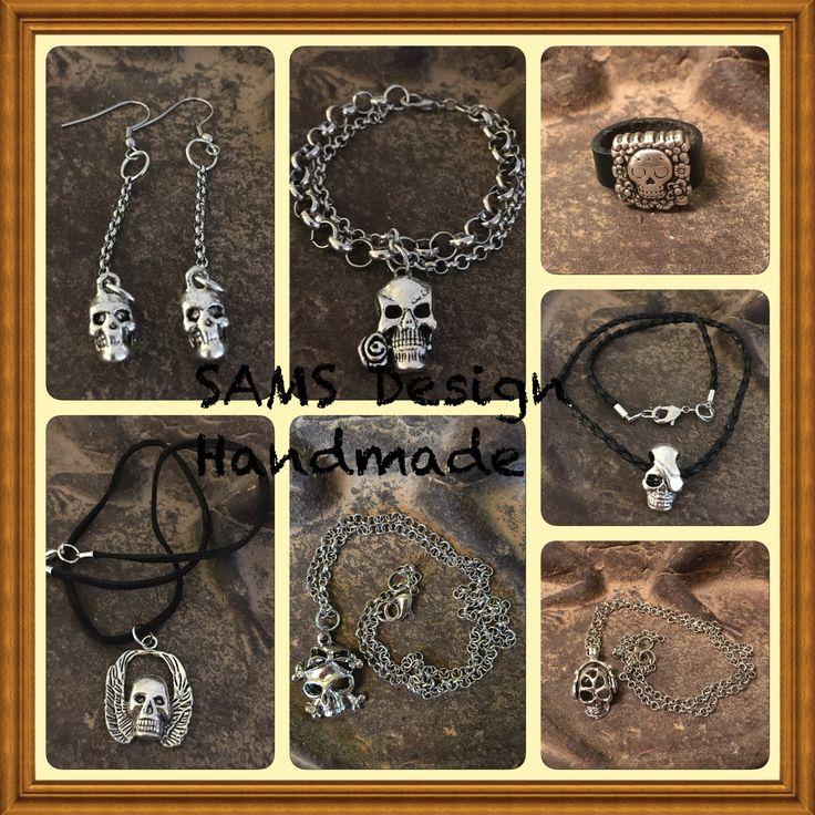 Armband, halsband, ring och örhängen döskalle. Bracelet, necklace, ring and earrings skull. SAMS Design  Handmade