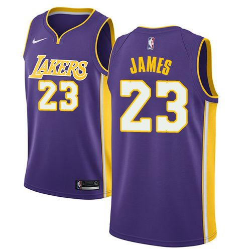 pretty nice fb6f0 7d612 Nike Lakers #23 LeBron James Purple Youth NBA Swingman ...