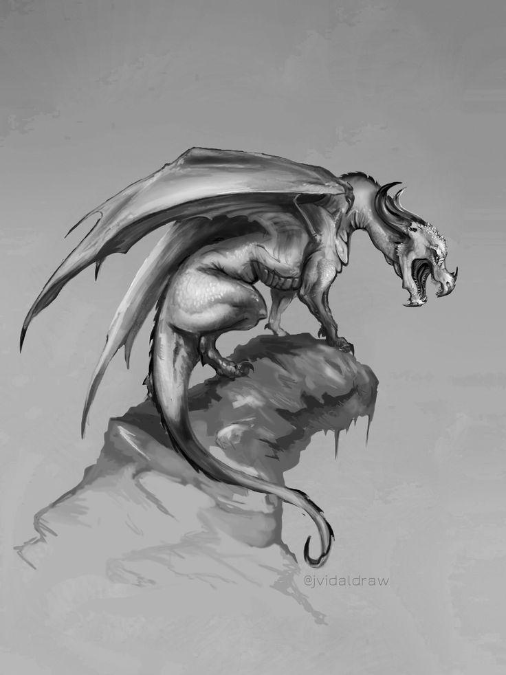 ArtStation - Greyscale Dragon, Judith Marta Vidal Pérez